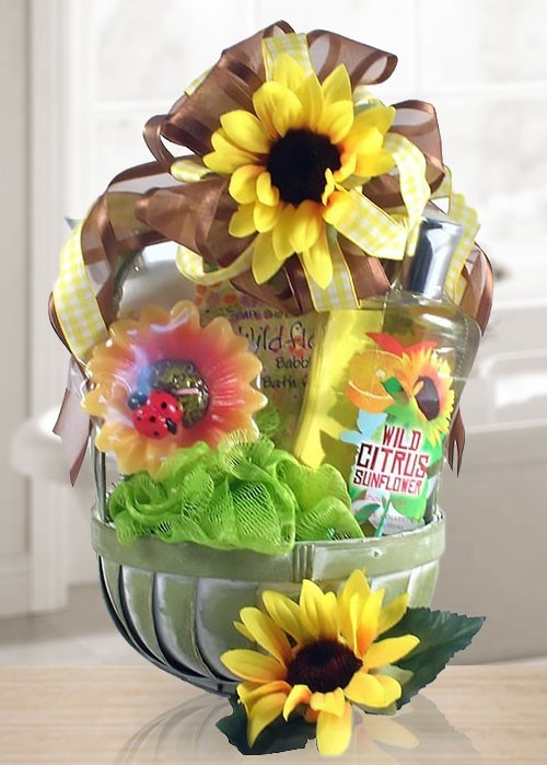 Relax & Enjoy Citrus Sunflower Spa Gift Basket