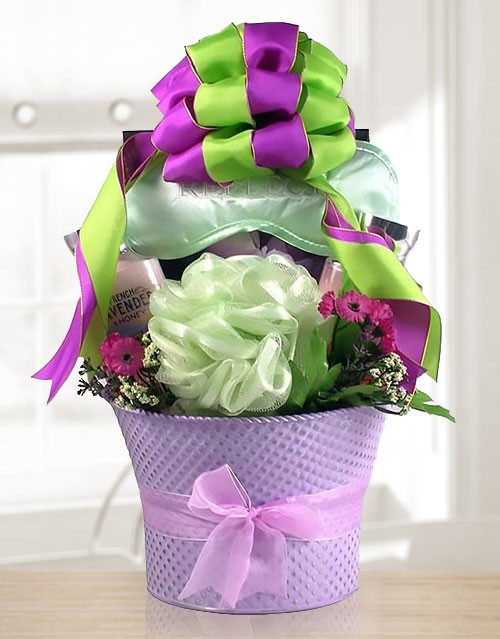 Lavender Spa Gift Basket of Chocolate