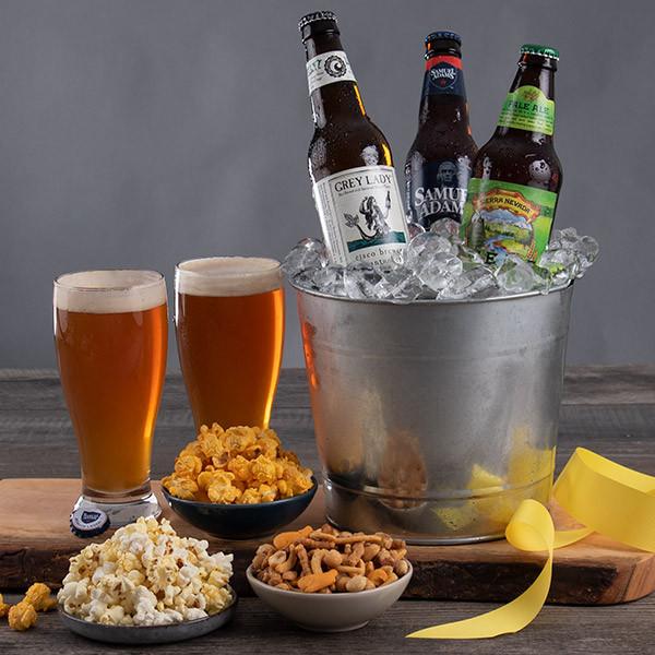 Beer, Popcorn & Snack Mix Gift Bucket
