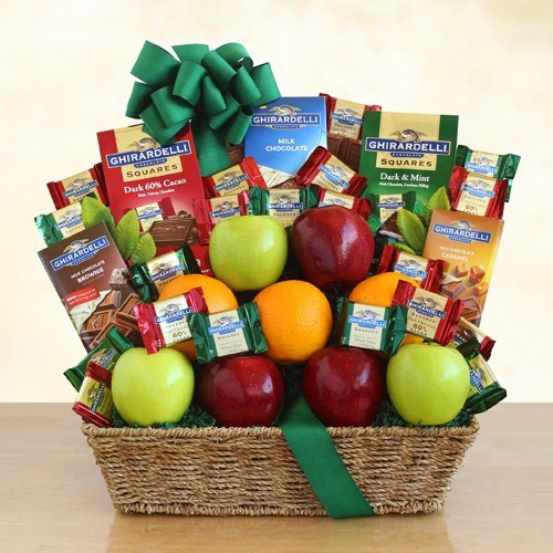 Premium Ghirardelli and Fruit Gift Basket