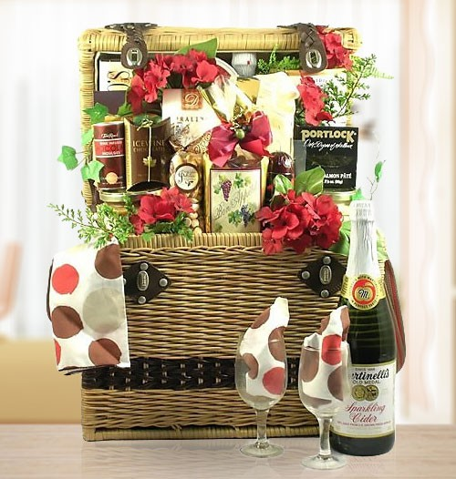 VIP Cheese, Chocolate, Nuts Romantic Gift Basket for Picnic