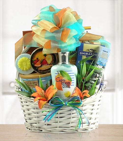 Seaside Spa & Sweet Mix Gift Basket