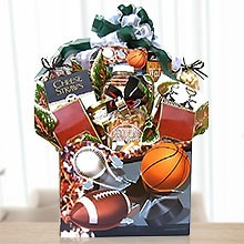 Never Give Up! Sports Gift Basket of Gourmet