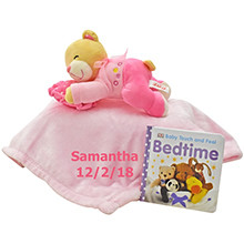 Time for Bed Pink Bear and Blanket Set