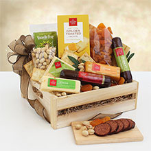 Meat & Cheese Wooden Gift Crate