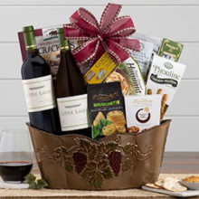 Cabernet Sauvignon, Chardonnay Gourmet Gift Basket