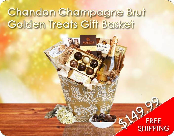 Chandon Champagne Brut Golden Treats Gift Basket