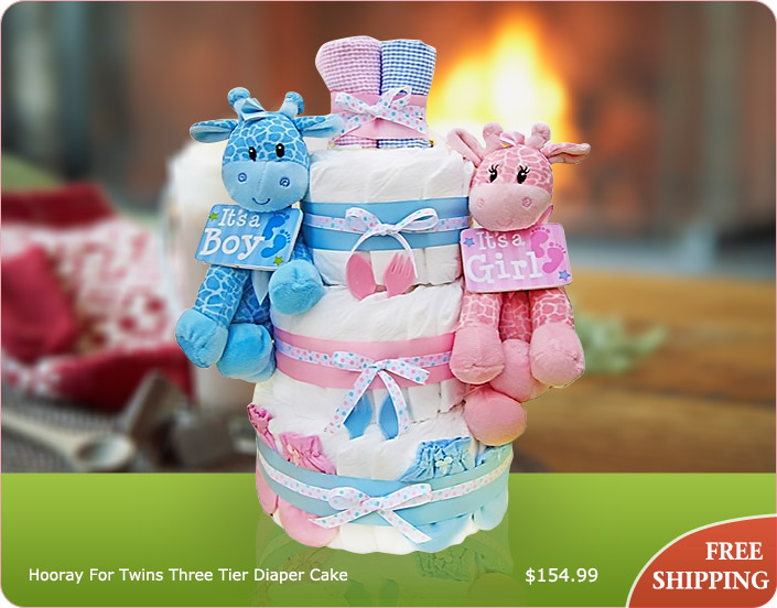 Hooray For Twins Three Tier Diaper Cake